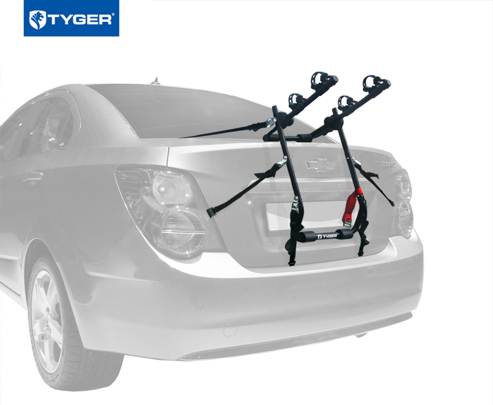 TYGER Deluxe 2-Bike Trunk Mount Black Carrier Rack Fits Sedan//Hatchback//SUV//Van